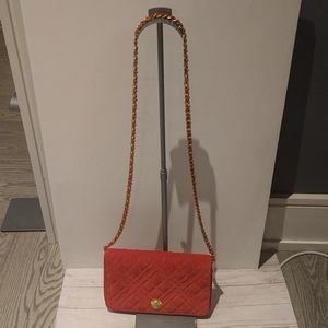Beautiful   vintage red suede leather bag